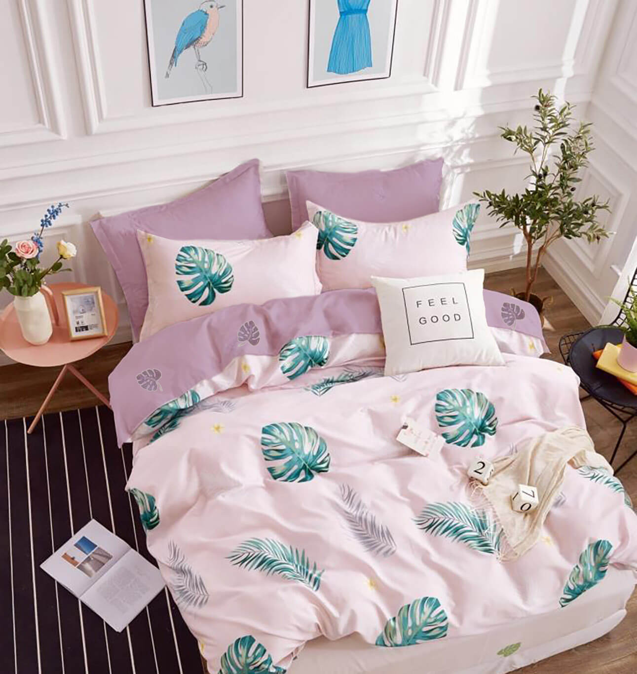 Комплект постельного белья 1,5-спальный, поплин (Лейла, розовый)