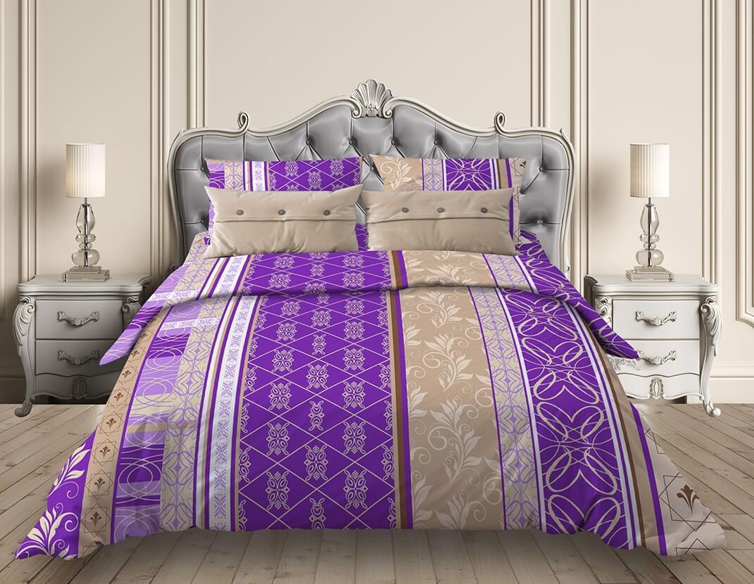 """Простыня 1,5-спальная, бязь """"Комфорт"""" (Аккорд, фиолетовый)"""