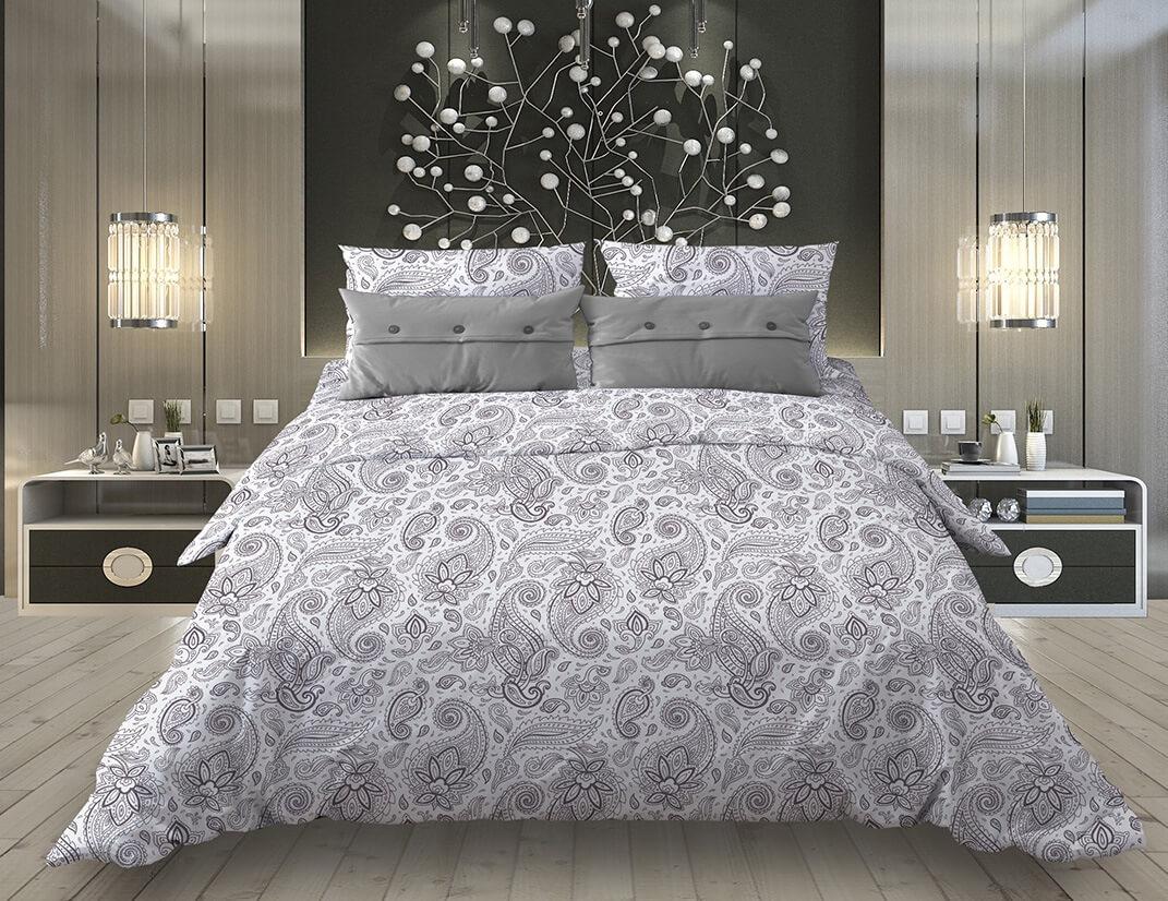 """Комплект постельного белья 1,5-спальный, бязь """"Комфорт"""" (Восточные огурцы, белый)"""