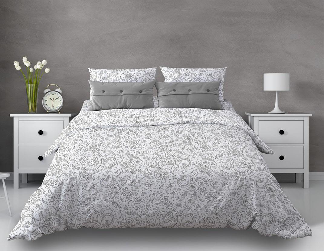 """Комплект постельного белья 1,5-спальный, бязь """"Комфорт"""" (Турецкие огурцы, белый)"""
