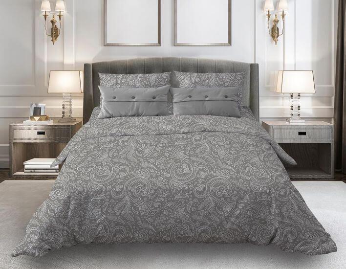 """Комплект постельного белья 1,5-спальный, бязь """"Комфорт"""" (Турецкие огурцы, серый)"""