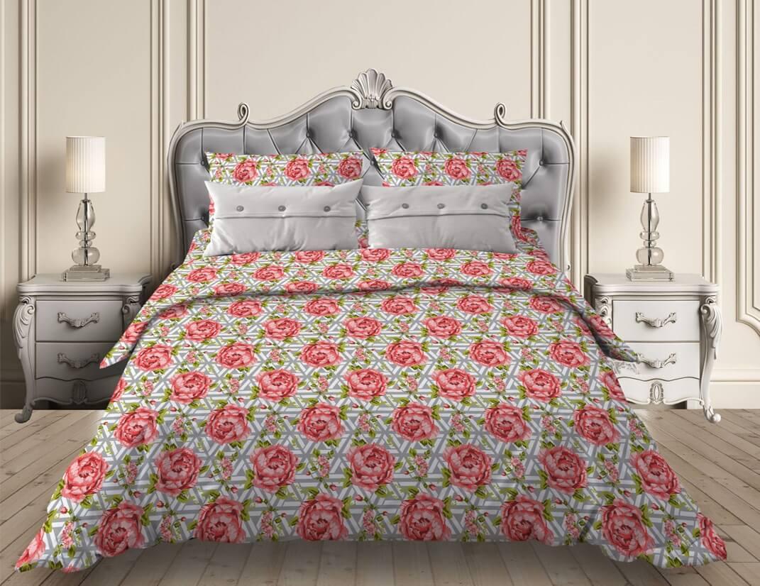 """Комплект постельного белья 1,5-спальный, бязь """"Комфорт"""" (Пионы, серый)"""