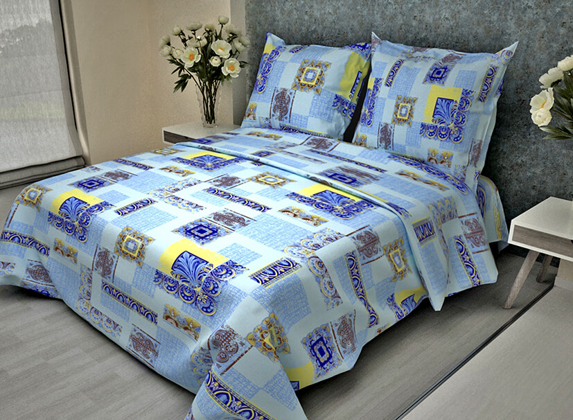 """Комплект постельного белья 1,5-спальный, бязь """"Комфорт"""" (Арабески, голубой)"""
