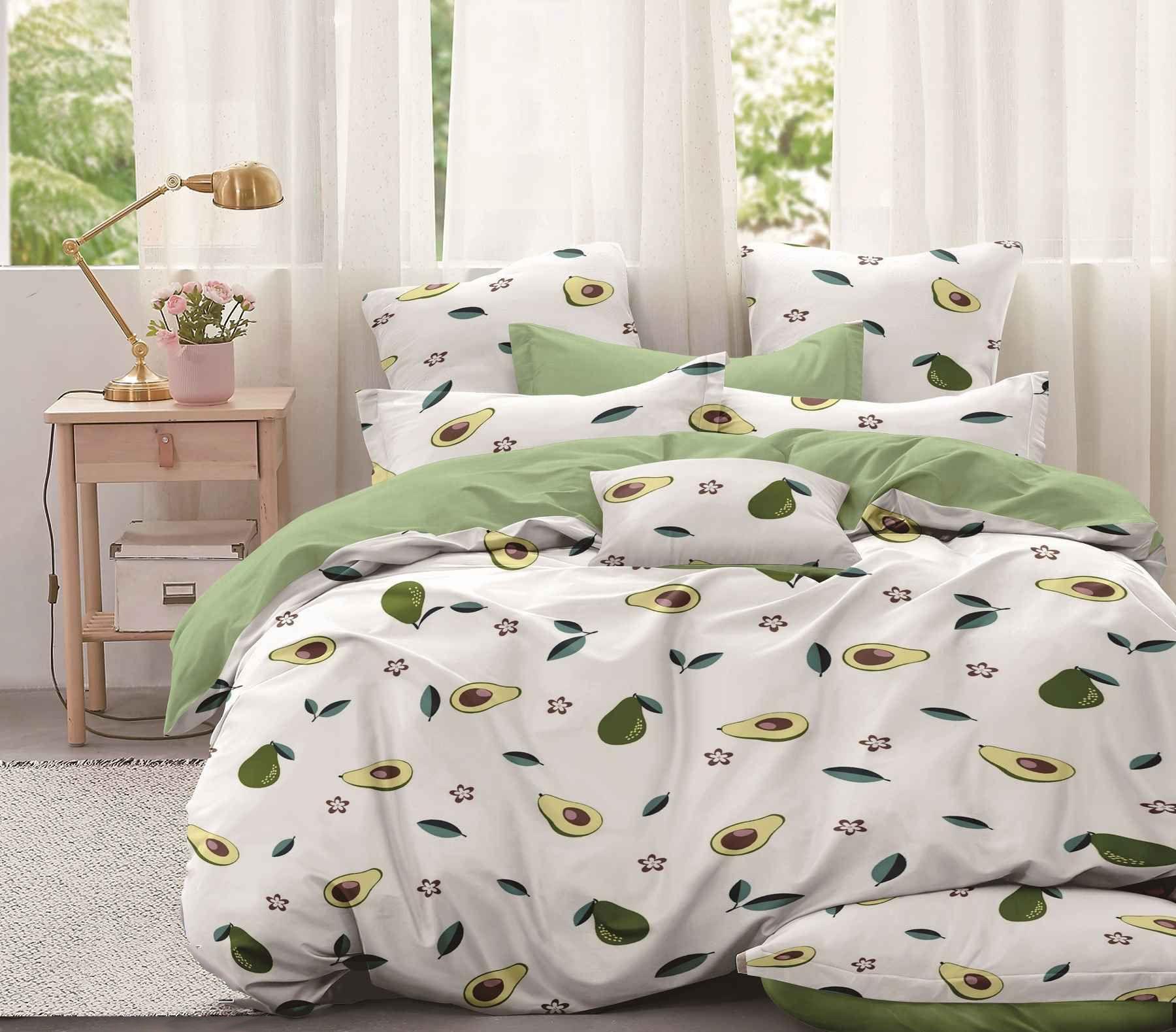 Комплект постельного белья Семейный, поплин (Авокадо, белый)