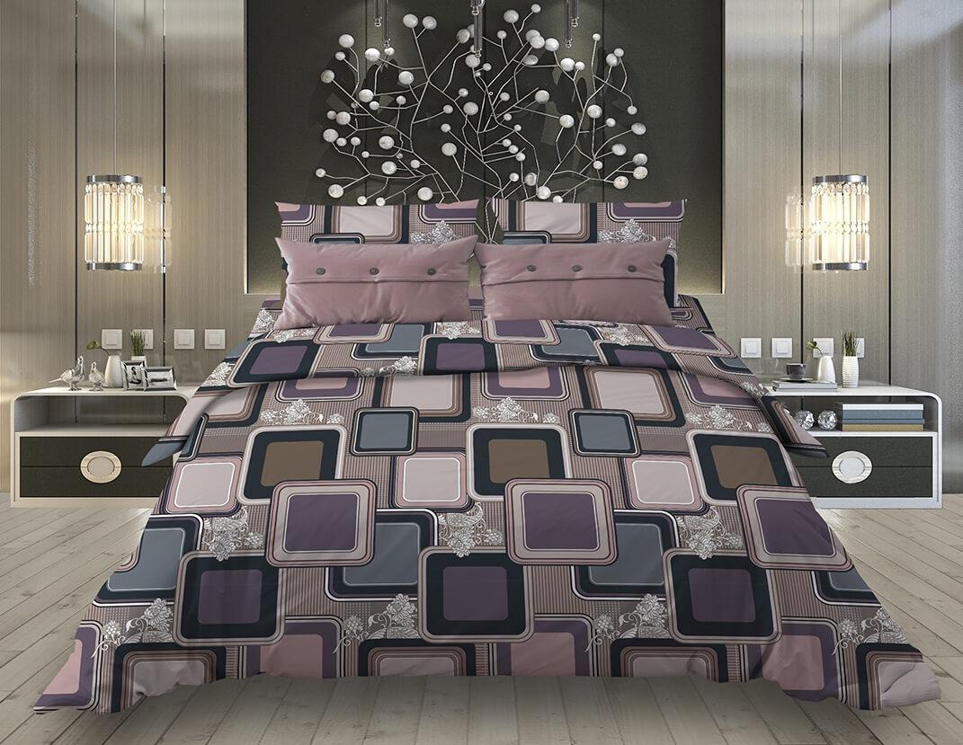 """Пододеяльник 1,5-спальный, бязь """"Комфорт"""" (220) (Лабиринт, коричневый)"""