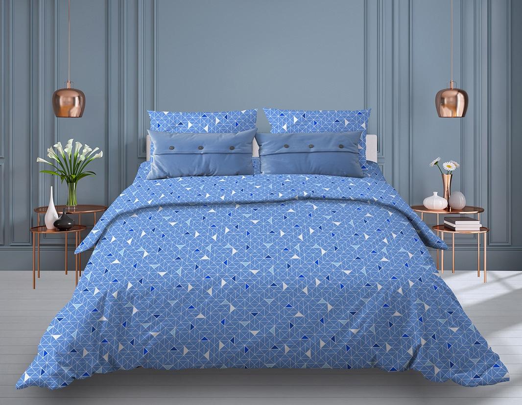 """Пододеяльник 1,5-спальный, бязь """"Комфорт"""" (220) (Треугольники, светло-синий)"""