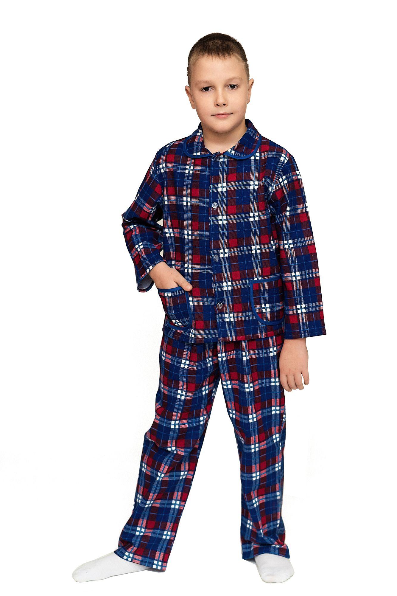 Пижама для мальчика, модель 307, фланель (Клетка, вид 3)