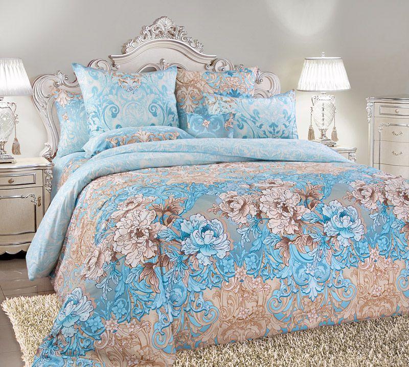 Комплект постельного белья Семейный, сатин (Вивьен, голубой)