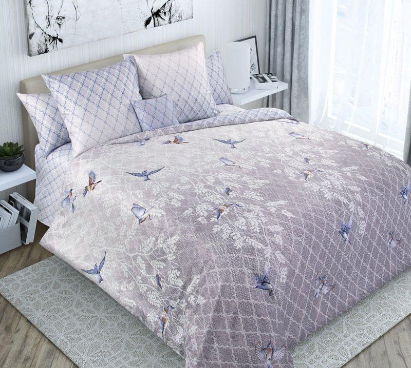 Комплект постельного белья 2-спальный, сатин, с Европростыней (Рулада, серый)