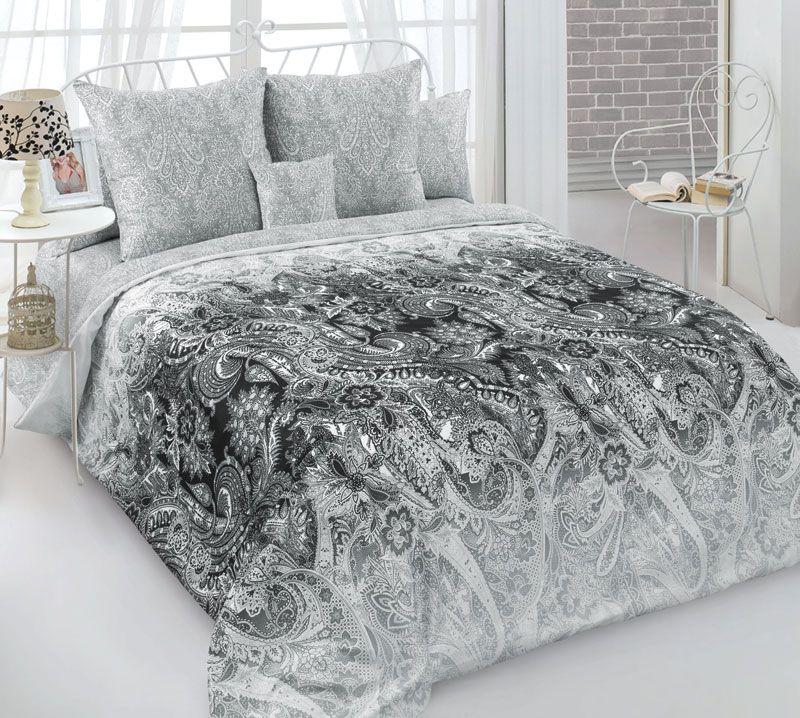 Комплект постельного белья 2-спальный, сатин, с Европростыней (Лунный бархат, серый)