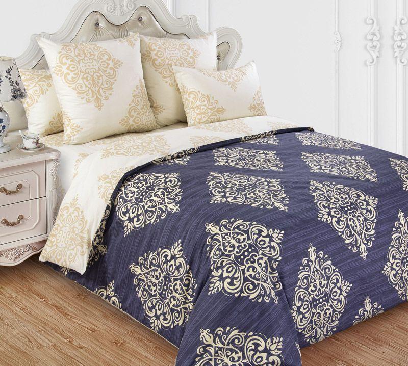 Комплект постельного белья 2-спальный, сатин, с Европростыней (Византия, бежевый)