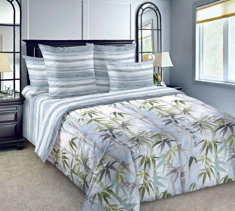 Комплект постельного белья 2-спальный, сатин, с Европростыней (Шанхай)