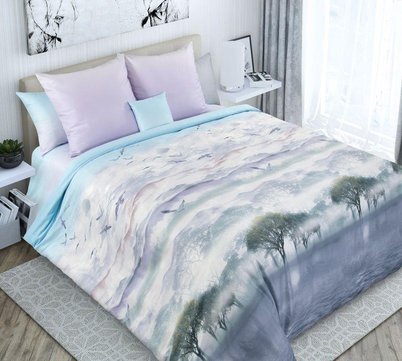 Комплект постельного белья 2-спальный, сатин, с Европростыней (Безмятежная даль)