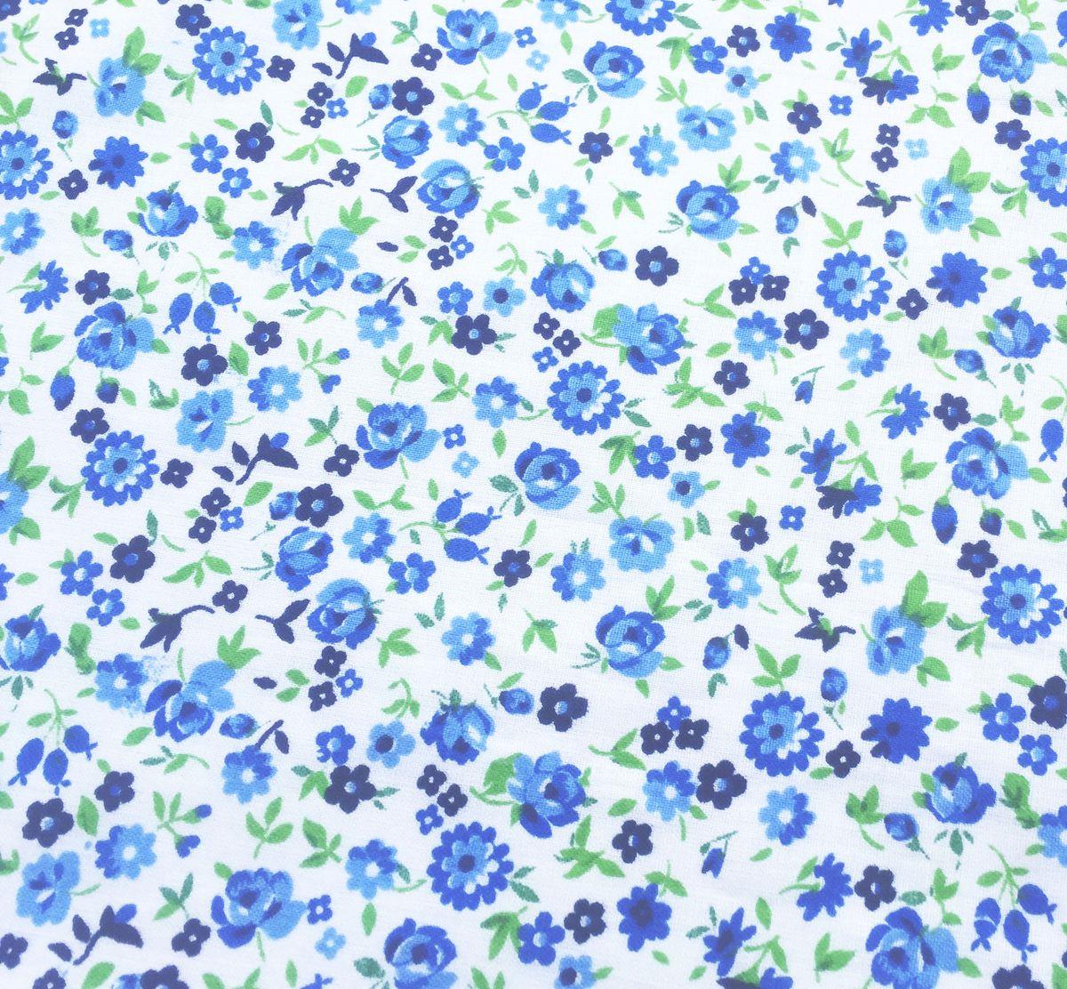 Комплект постельного белья 1,5-спальный, ситец Шуйский (Цветочное настроение, голубой)