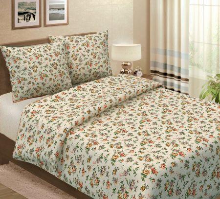 Простыня 1,5-спальная, набивная полульняная ткань (Вальс цветов)