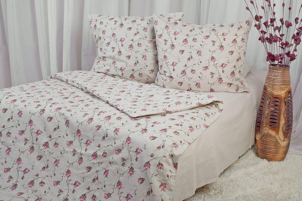 Комплект постельного белья Семейный, набивная полульняная ткань (Роза)