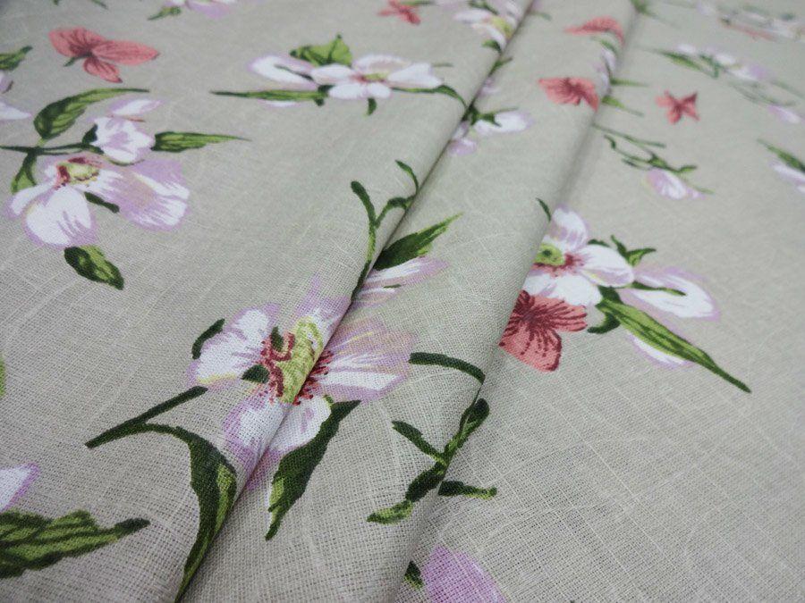 Комплект постельного белья 1,5-спальный, набивная полульняная ткань (Нарциссы)