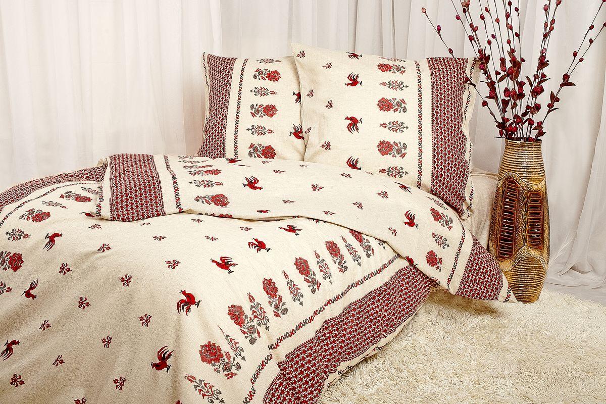 Комплект постельного белья 1,5-спальный, набивная полульняная ткань (Русские узоры)