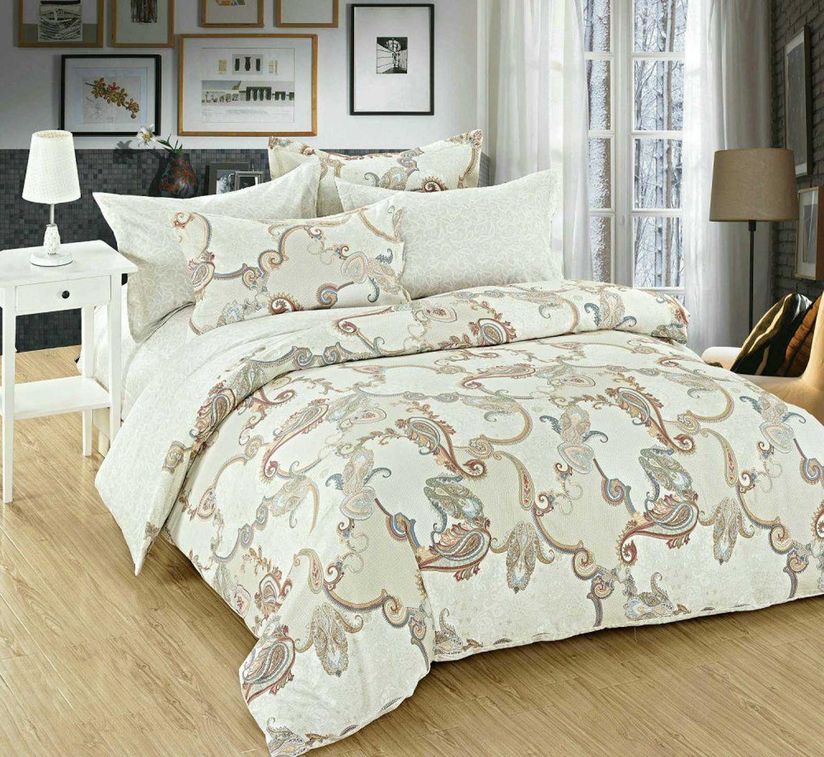 Комплект постельного белья Евростандарт, поплин (Фелини, белый)