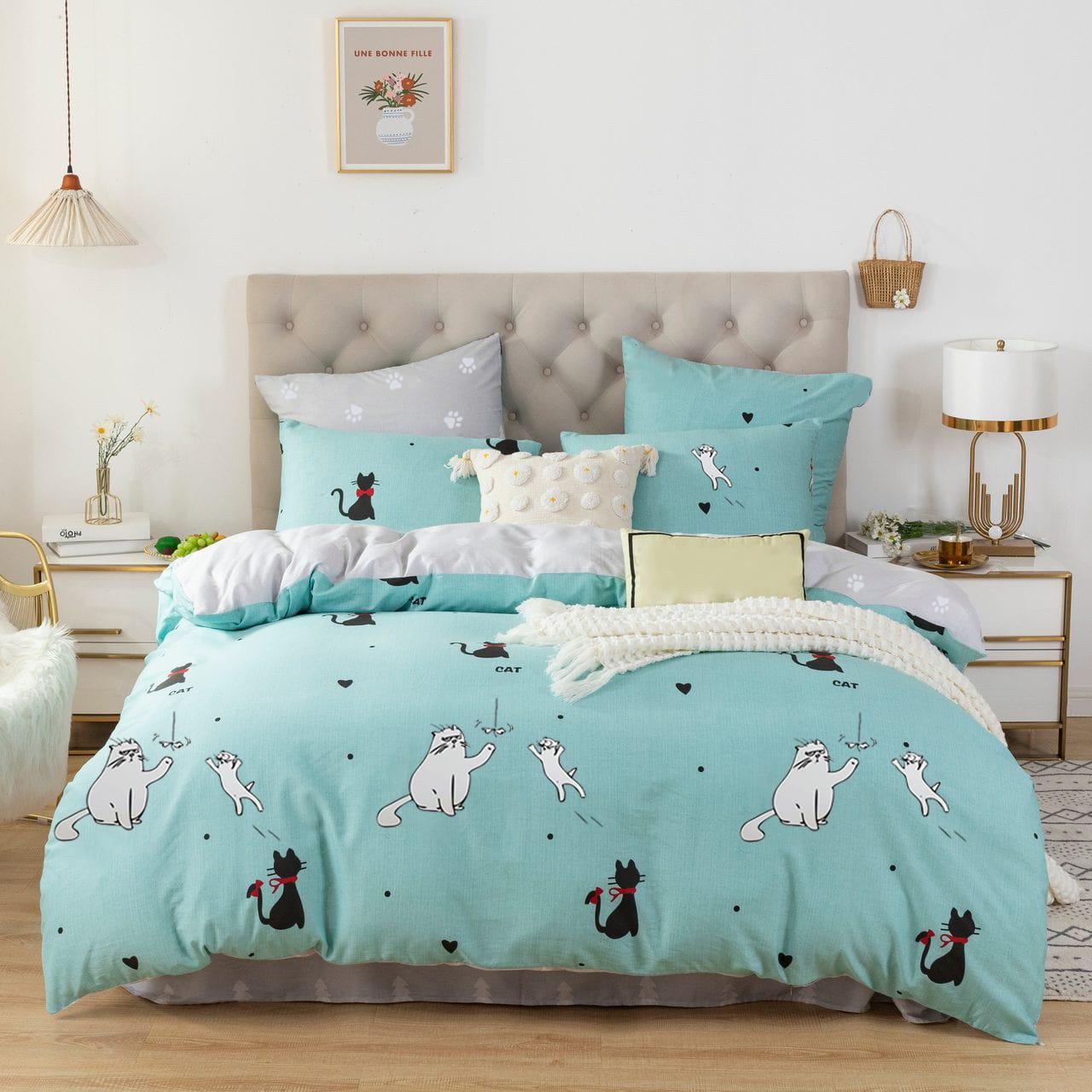 Комплект постельного белья 2-спальный с Евро простыней, поплин (Коты)