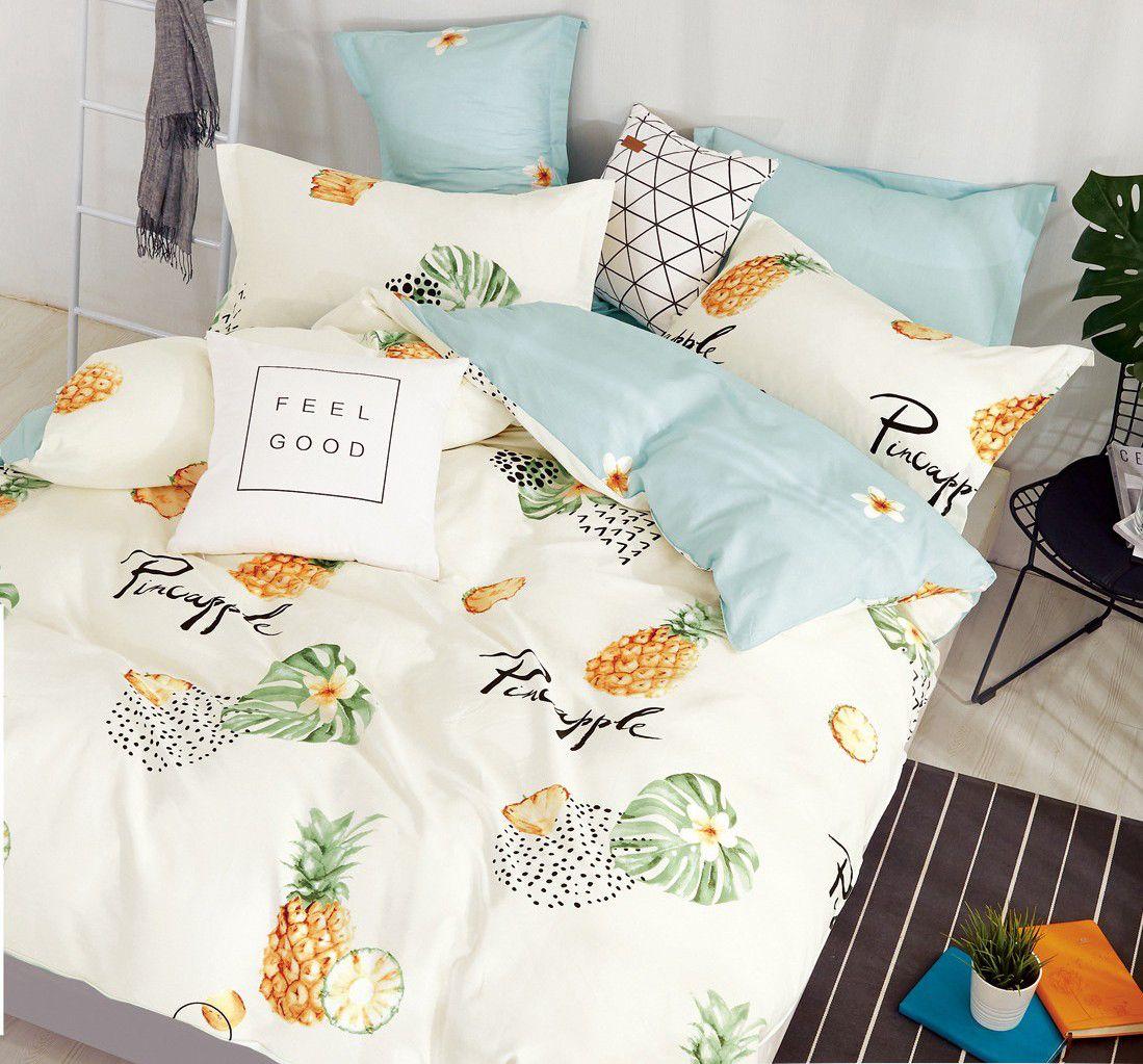 Комплект постельного белья 2-спальный с Евро простыней, поплин (Ананас)