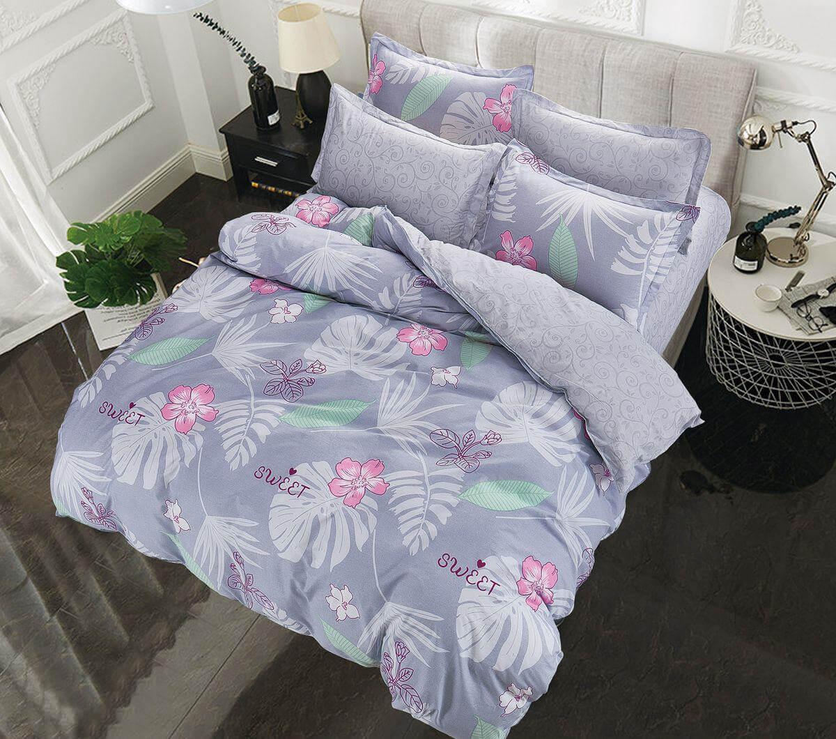 Комплект постельного белья 2-спальный с Евро простыней, поплин (Тропикана)