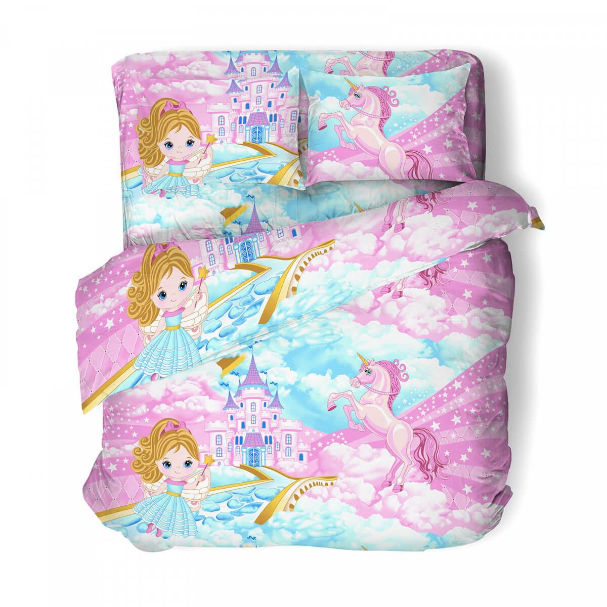 """Комплект постельного белья 1,5-спальный, бязь """"Комфорт"""", детская расцветка (Фея и единорог)"""
