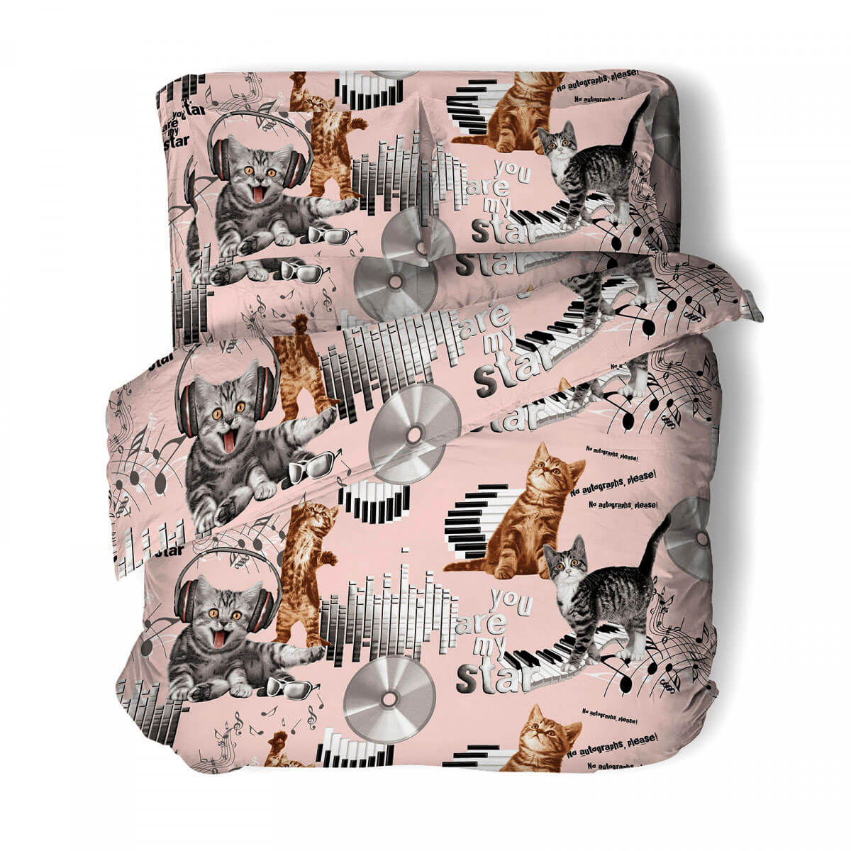 """Комплект постельного белья 1,5-спальный, бязь """"Комфорт"""", детская расцветка (Кот-диджей, розовый)"""