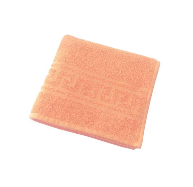 Махровое гладкокрашенное полотенце 50*90 см 380 г/м2 (Персиковый)