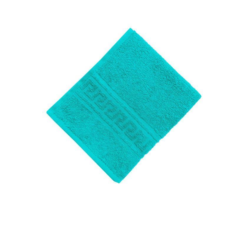 Махровое гладкокрашенное полотенце 50*90 см 380 г/м2 (Сине-зеленый)