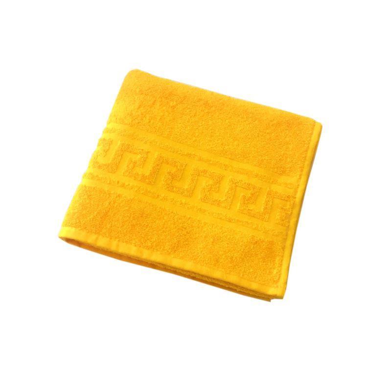 Махровое гладкокрашенное полотенце 50*90 см 380 г/м2 (Ярко-желтый)