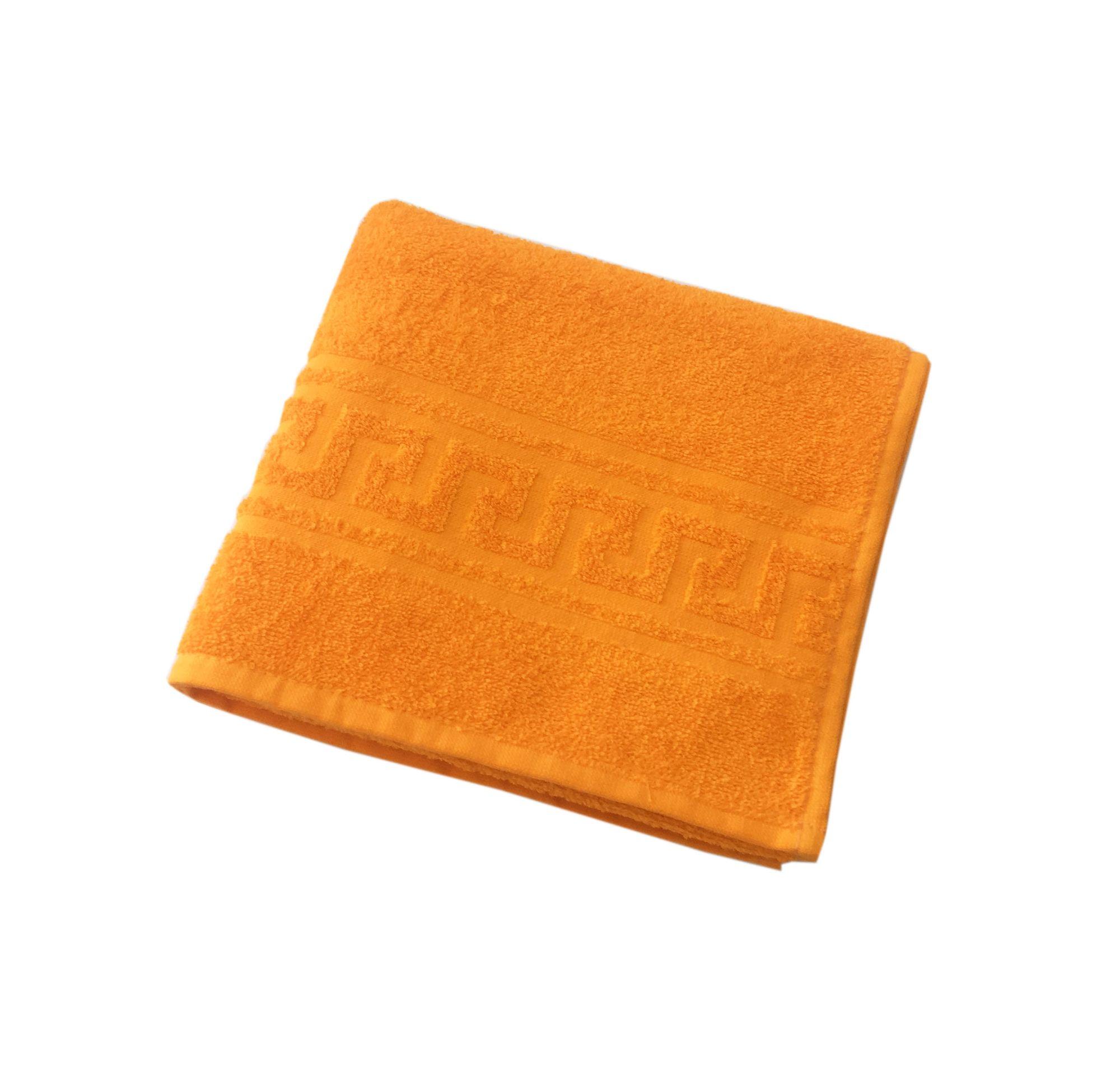 Махровое гладкокрашенное полотенце 50*90 см 380 г/м2 (Апельсиновый)