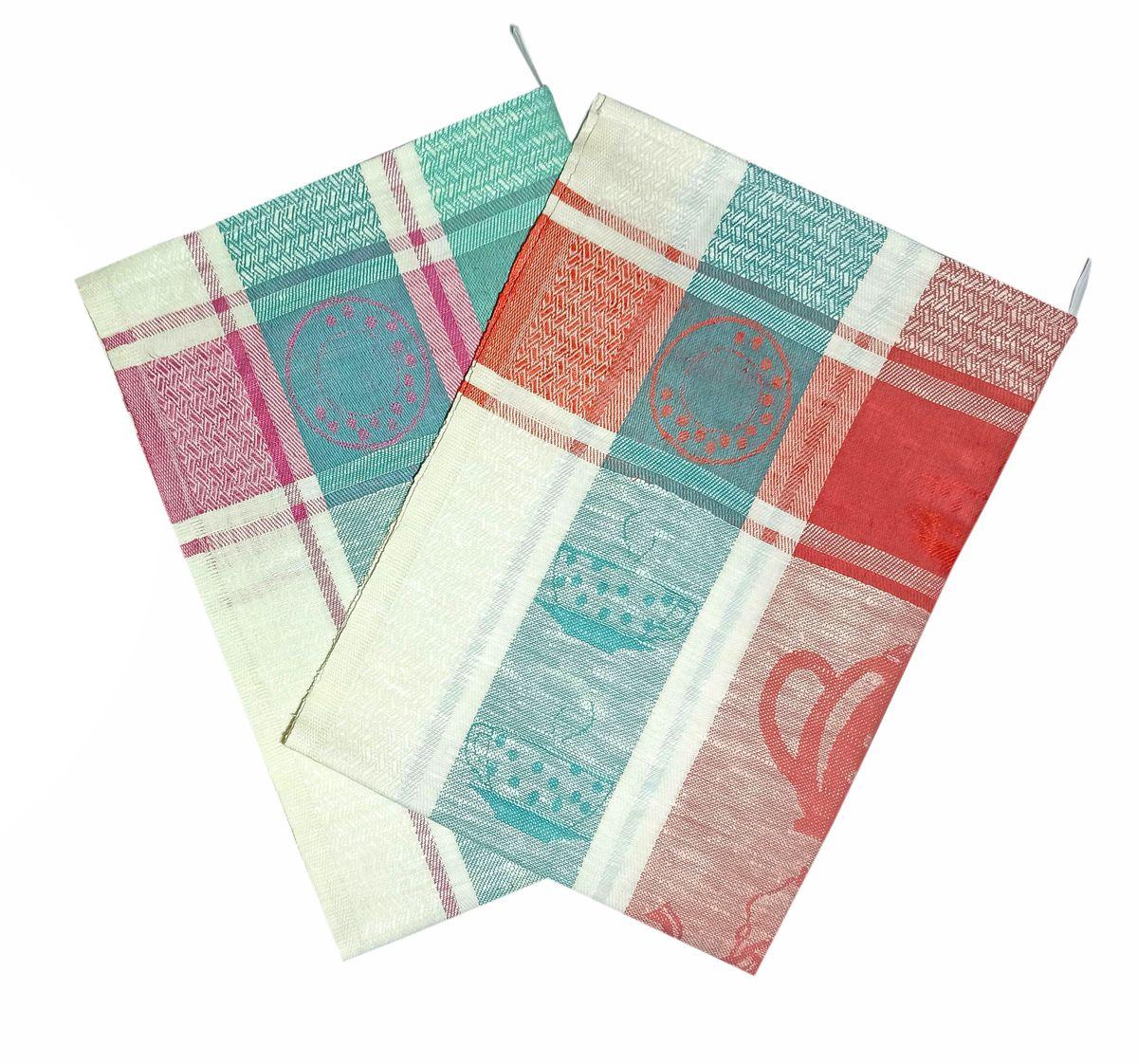Комплект полотенец 50*70 см, 2 шт., 100% лён (Чашки)