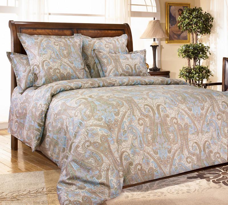 Комплект постельного белья Евростандарт, перкаль (Кашмир, коричневый)