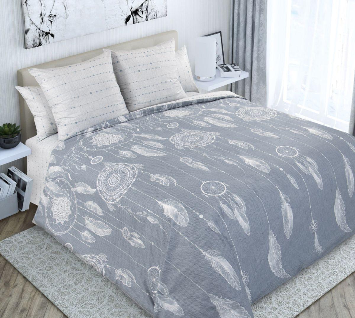 Комплект постельного белья 2-спальный с Евро простыней, перкаль (Ловцы снов)