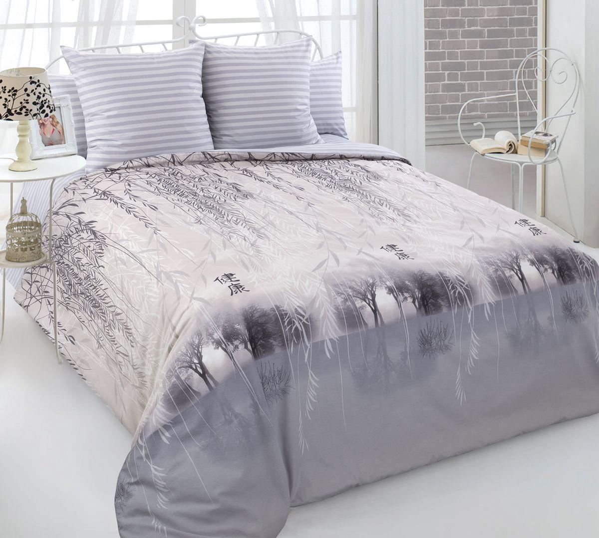 Комплект постельного белья 2-спальный с Евро простыней, перкаль (Умиротворение)