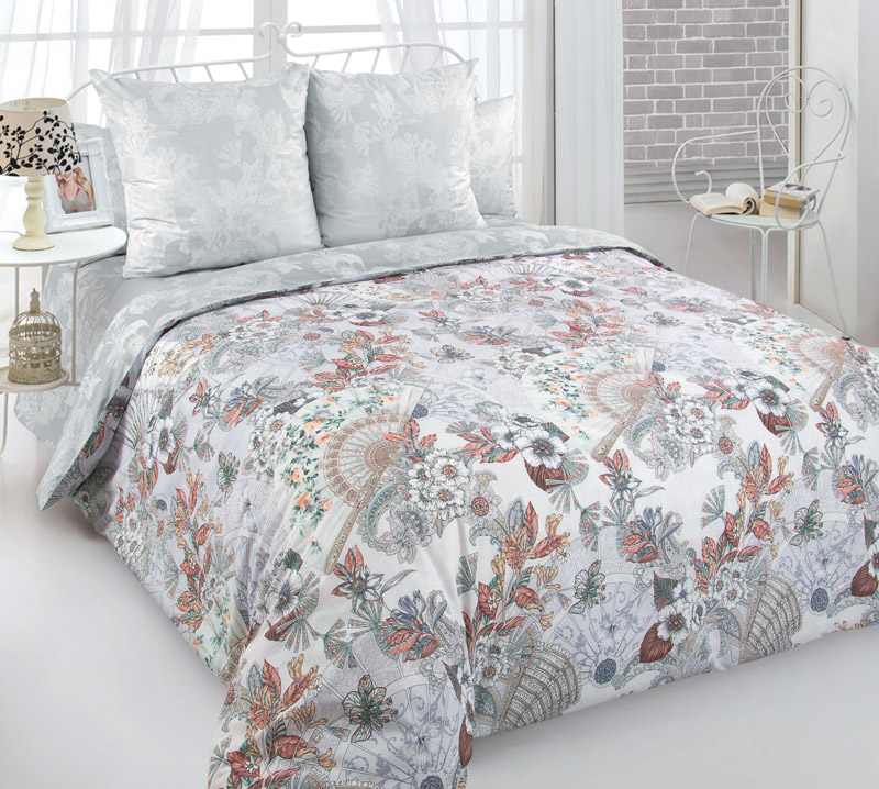 Комплект постельного белья 2-спальный с Евро простыней, перкаль (Шелковый веер)