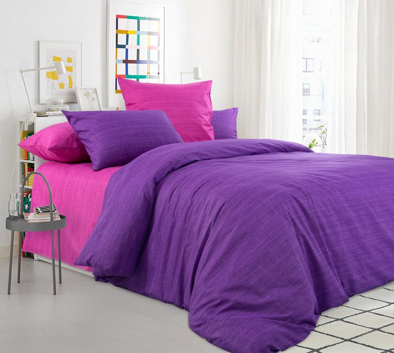 Комплект постельного белья 2-спальный с Евро простыней, перкаль (Дикая орхидея)