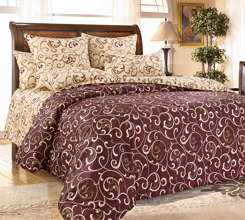 Комплект постельного белья 2-спальный с Евро простыней, перкаль (Вензель)
