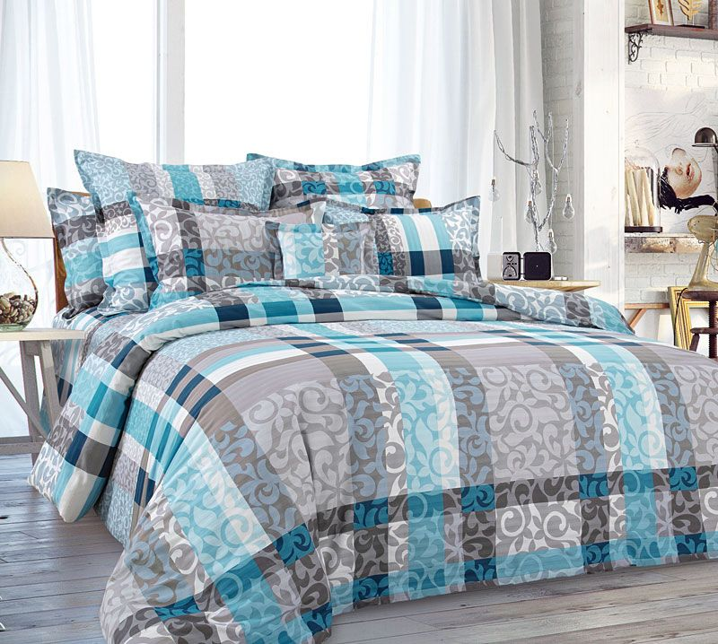 Комплект постельного белья 2-спальный с Евро простыней, перкаль (Бруно, бирюзовый)