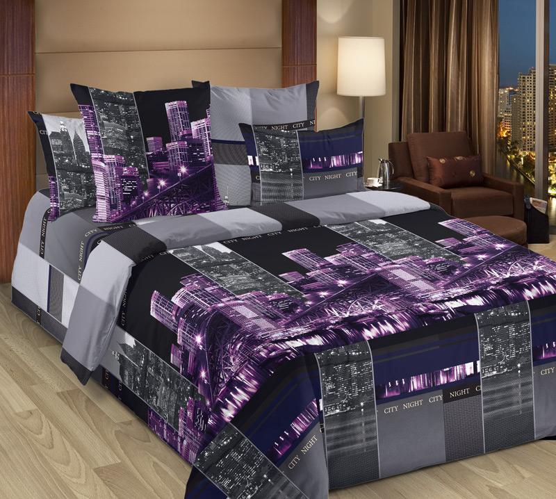 Комплект постельного белья 2-спальный, перкаль (Сити, сиреневый)