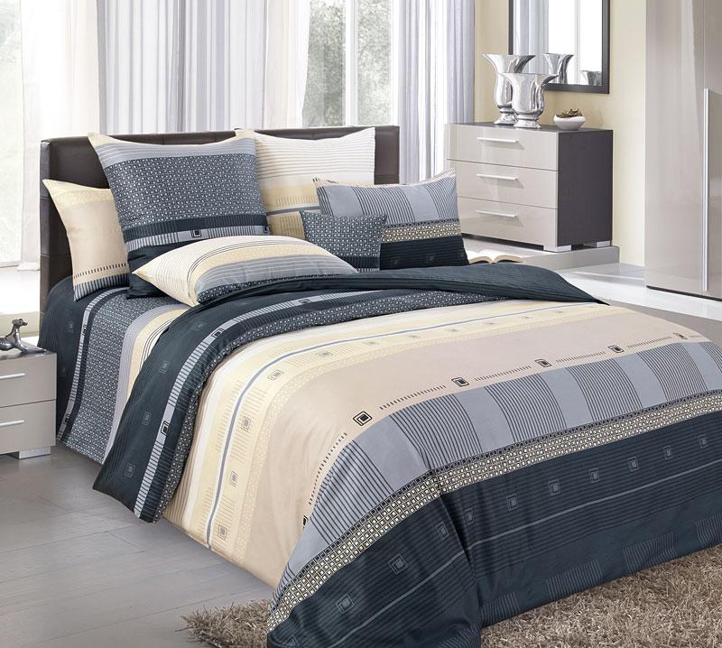Комплект постельного белья 1,5-спальный, перкаль (Мишель, черный)
