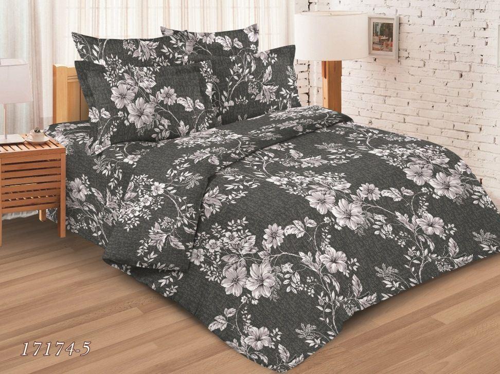 Простыня 2-спальная, бязь ГОСТ (Цветущая лиана, серый)