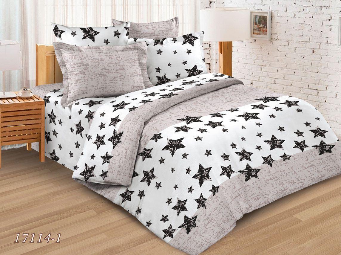 Пододеяльник 2-спальный, бязь ГОСТ (Звезды на бежевом)