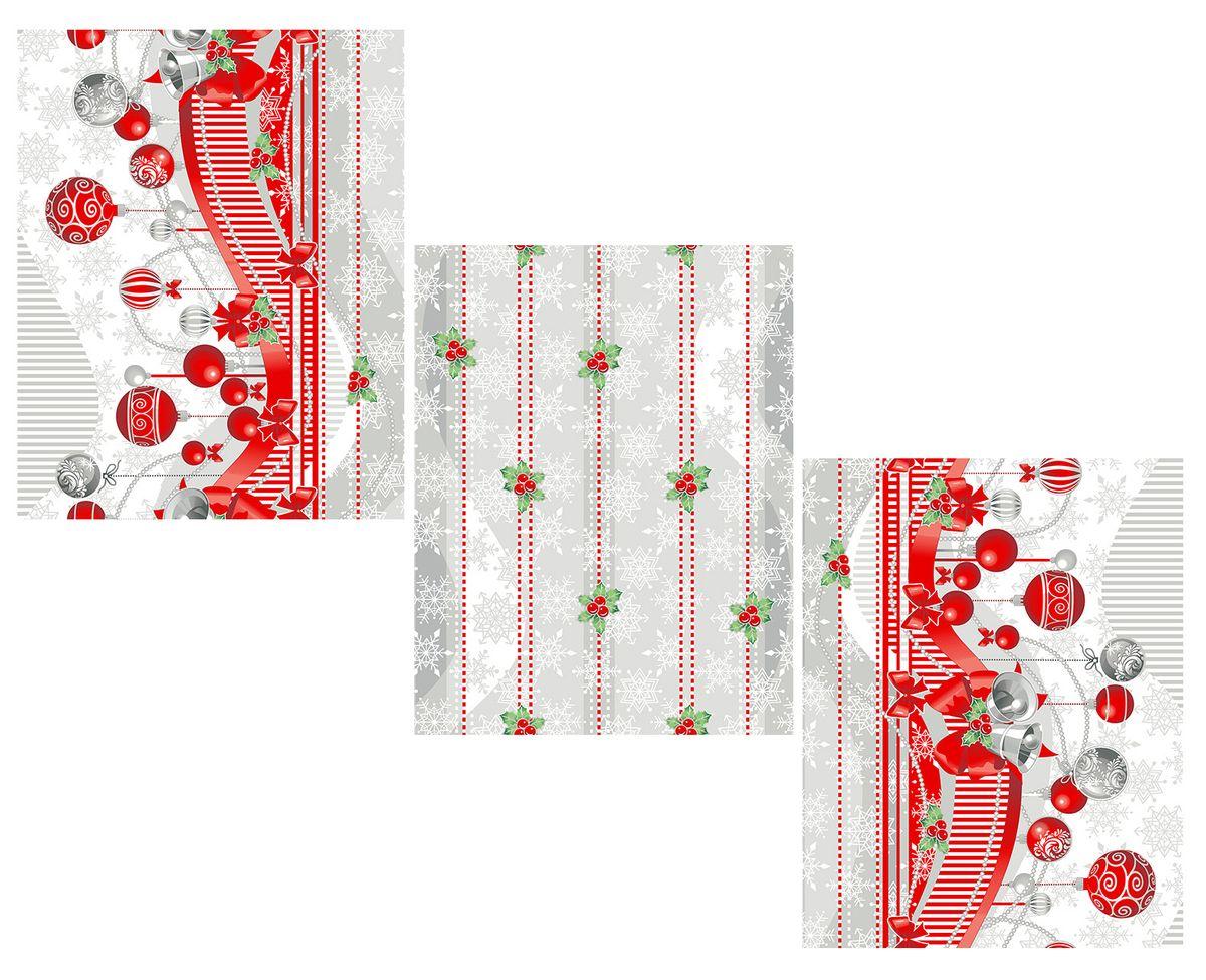 Комплект вафельных полотенец 48*60 см, 3 штуки (Новогодняя ночь)