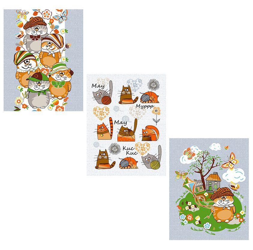 Комплект вафельных полотенец 48*60 см, 3 штуки (Мурлыки)