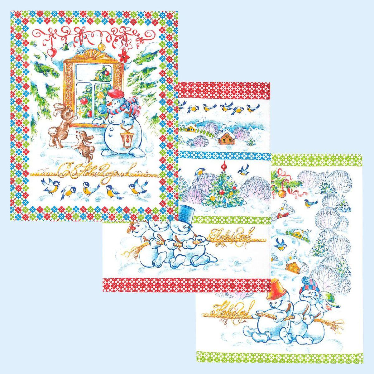 Комплект вафельных полотенец 48*60 см, 3 штуки (Зимние забавы)