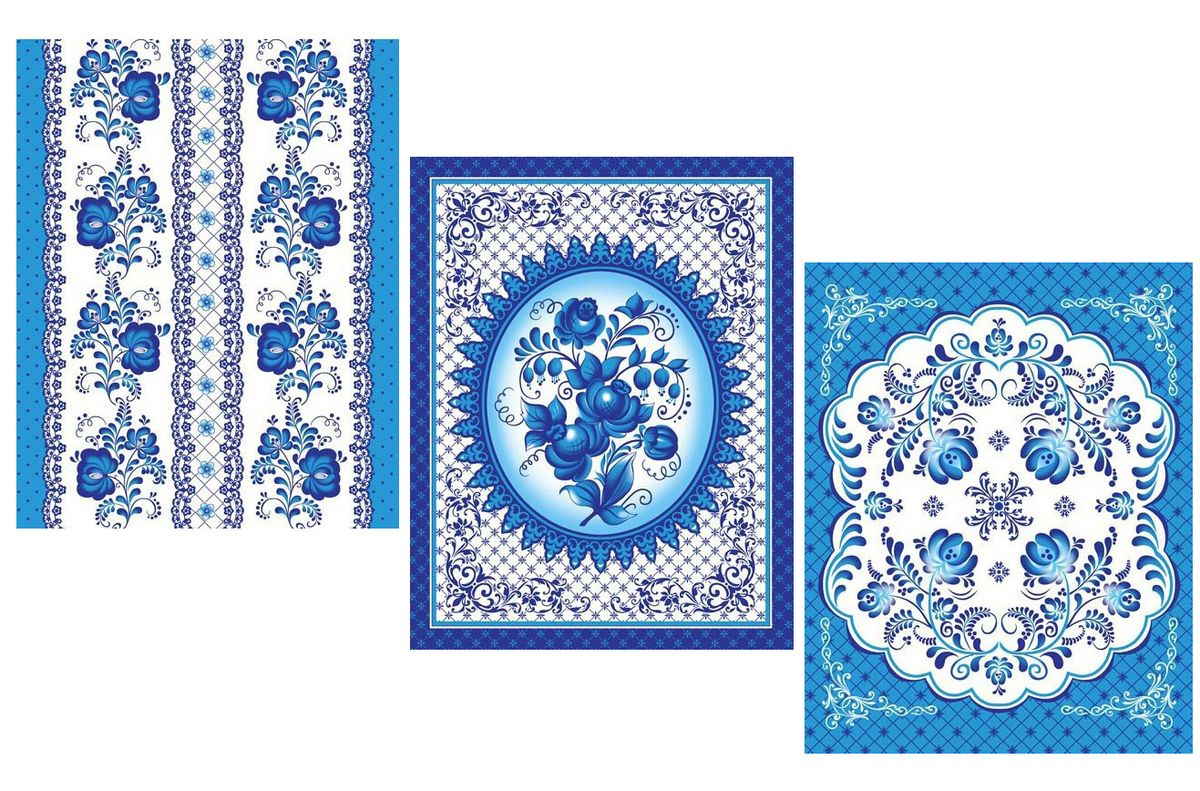 Комплект вафельных полотенец 48*60 см, 3 штуки (Гжель)