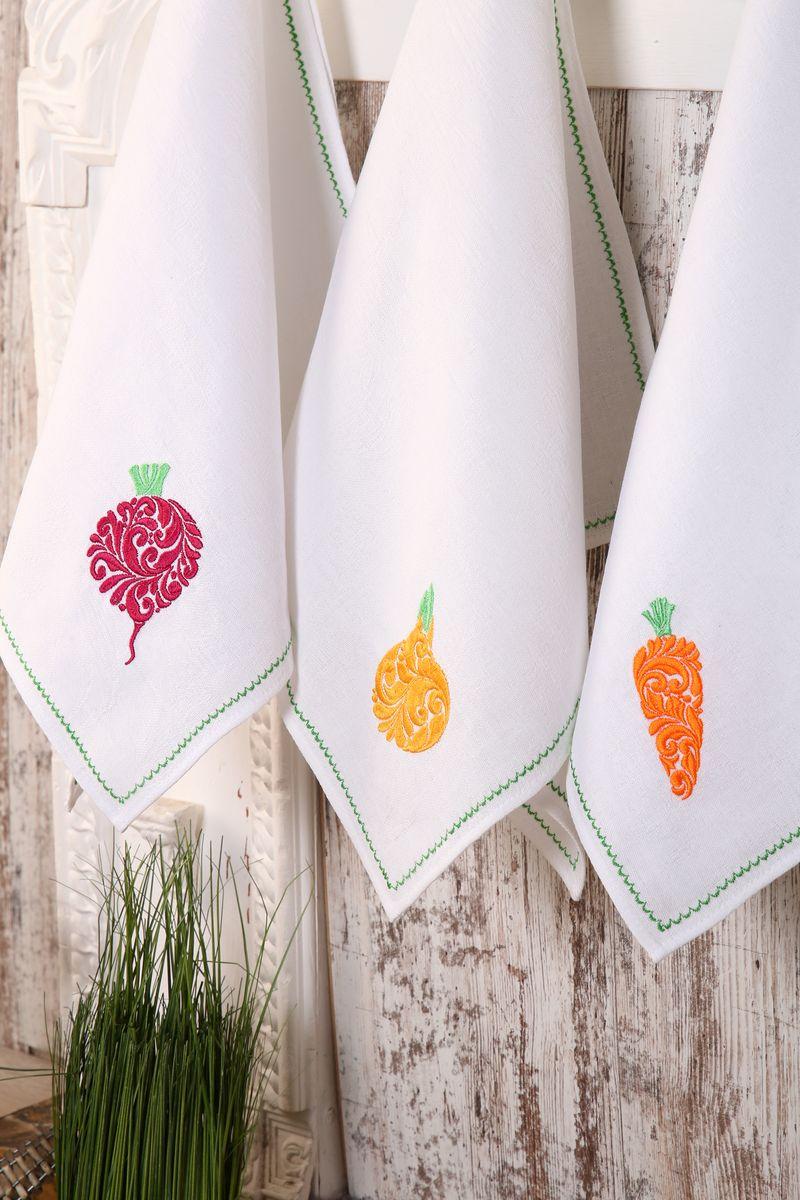 Комплект полотенец с вышивкой 45*90см, 3 шт., 100% лён (Овощи)