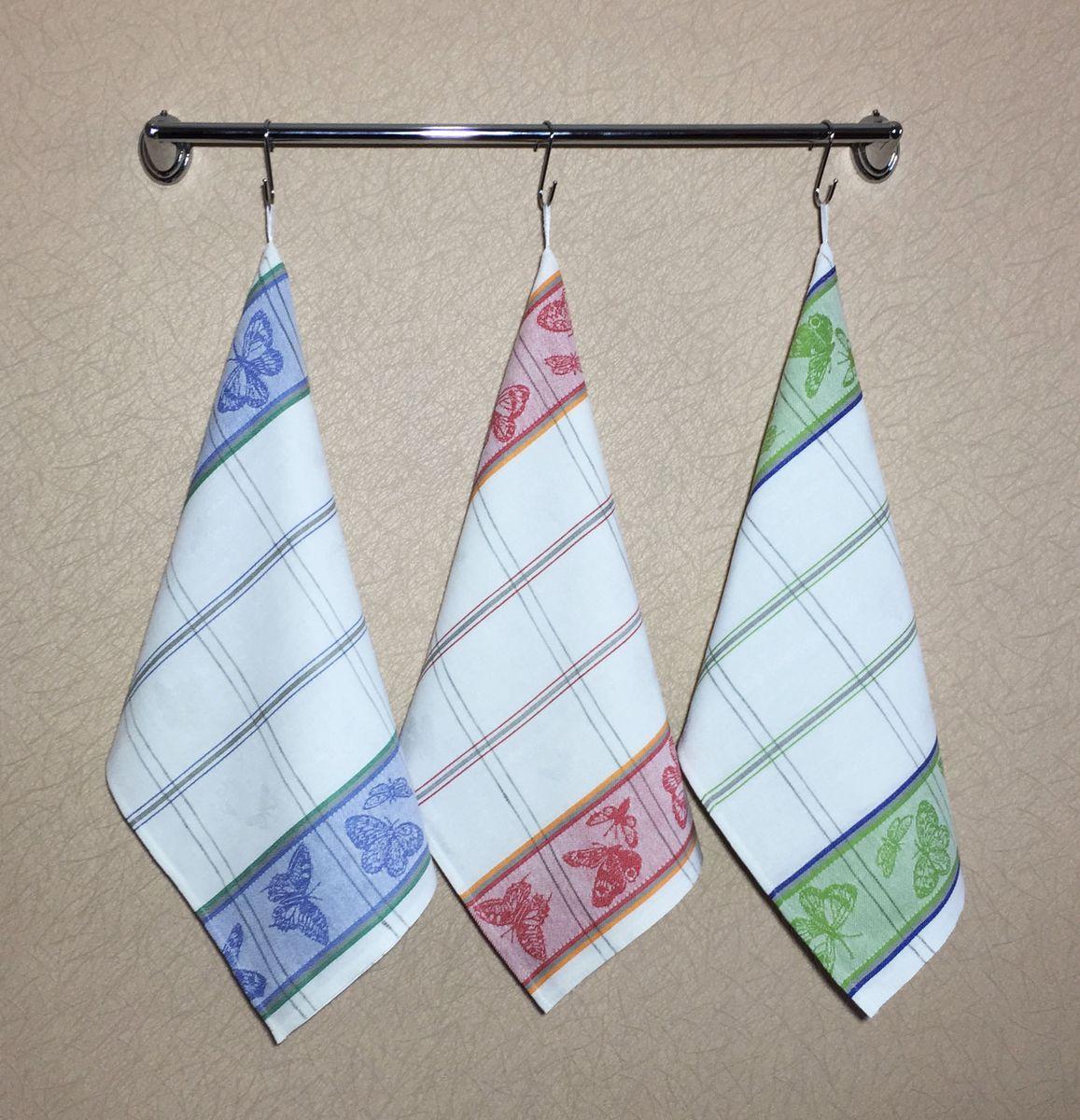 Комплект полотенец 50*70см, 3 шт., 100% лён (Бабочки)